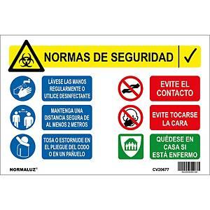 Señal multicartel normas de seguridad PVC - 20 x 30 cm