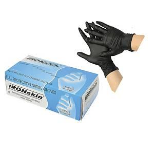 Ironskin Nitrile Gloves Black (L Size) - Pack of 100