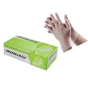 Ironskin Vinyl Gloves Clear (L Size) - Pack of 100