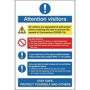 H&S Sign Attention Visitors 150X200 Self Adhesive Vinyl