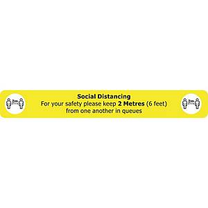 Social Distancing Floor Sign Yellow Floor Marking With Anti-Slip Laminate