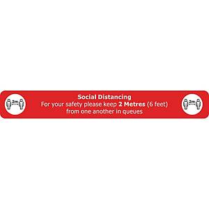 Social Distancing Floor Sign Red Floor Marking With Anti-Slip Laminate