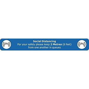 Social Distancing Floor Sign Blue Floor Marking With Anti-Slip Laminate