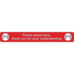 Please Queue Floor Sign Red Floor Marking With Anti-Slip Laminate