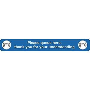 Please Queue Floor Sign Blue Floor Marking With Anti-Slip Laminate