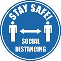 Social Distancing Floor Marker Pack 2 - Blue with Anti-Slip Laminate