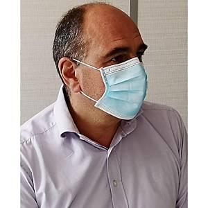 Masques chirurgicaux 3 plis type I bleus - sachet de 20