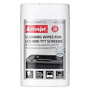 Čisticí utěrky na LCD a TFT obrazovky ActiveJet, balení: 100 ks