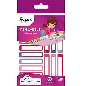 Etichette per penne Avery 50 x 10 mm rosa / viola - Conf. 30