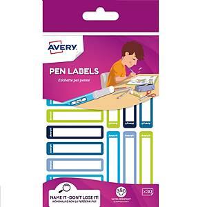 Etichette per penne Avery 50 x 10 mm blu / verde - Conf. 30