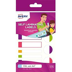 Etichette per materiale scolastico Avery colori assortiti fluo - Conf. 24