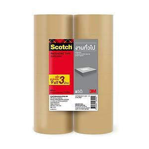 SCOTCH เทปปิดกล่อง OPP ขนาด 2 นิ้ว X 43.74 หลา แกน 3 นิ้ว แพ็ค 10 ฟรี 2 สีชา