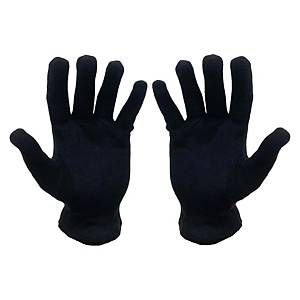 Lady Cotton Gloves Black M Size - Pack of 12 Pairs