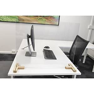 SAFETY SCREEN F/DESK-TABLE 58X75 W/2 WOODEN BASE 3-WAY
