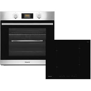 HOTPOINT K002909 BUILT IN SINGLE OVEN & INDUCTION HOB - STAINLESS STEEL / BLACK