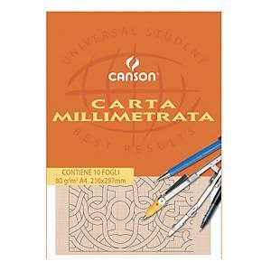 §Carta opaca millimetrata Canson 210x297 mm 10 fogli 80 g  - conf. 25 blocchi