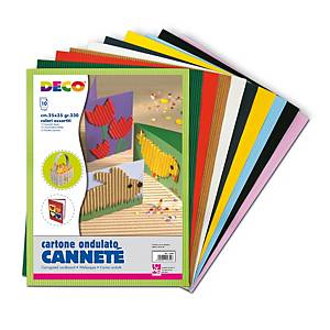 §Cartoncino ondulato CWR 25x35 cm cannetè colori assortiti - conf. 10
