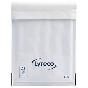 Boblekonvolutt Lyreco, 150 x 210 mm, 75 g, hvit, pakke à 100 stk.