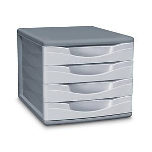 Lyreco 4-Drawers Filing Module White/Grey