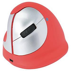 R-GO Ergo Mouse - Sem fio - Canhoto - Vermelho