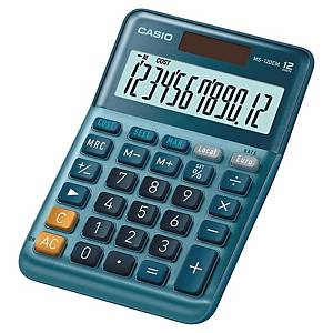 Casio MS-120EM rekenmachine voor kantoor, blauw, 12 cijfers
