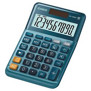 Calculatrice de table Casio MS-100EM, 10 chiffres, bleu