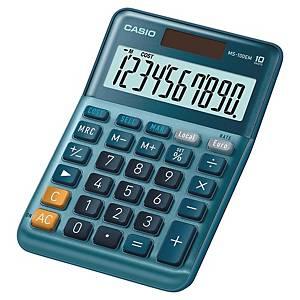 Casio MS-100EM rekenmachine voor kantoor, blauw, 10 cijfers