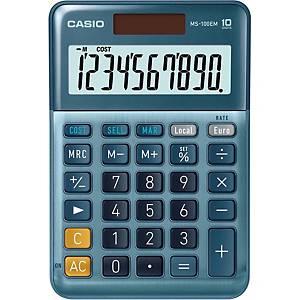 CASIO MS-100EM Desk Calculator 10-Digit, Solar/Battery Powered
