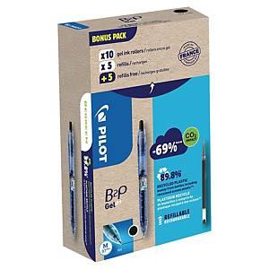 Pack de 10 bolígrafos tinta de gel Pilot B2P + 10 recambios - negro