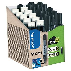 Marker PILOT V-Board Master, Greenpack 10 markerów + 10 wkładów, czarny