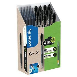 Pack de 12 bolígrafos tinta de gel Pilot G2 + 12 recambios - negro