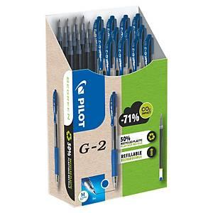 Pack de 12 bolígrafos tinta de gel Pilot G2 + 12 recambios - azul