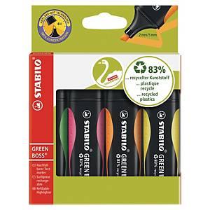 Marqueurs Stabilo® Green Boss, couleurs assorties, la pochette de 4 surligneurs