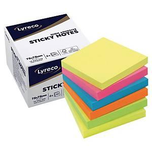 Blocs mémo Lyreco, recollables, 6 couleurs estivales, 75 x 75 mm, les 6