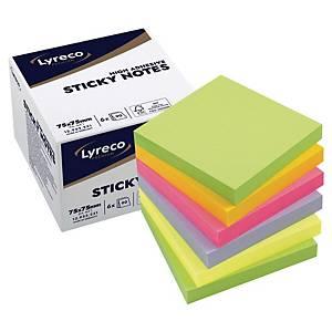 Sticky Notes Lyreco Premium Spring, 75 x 75 mm, pakke à 6 stk.