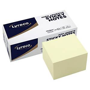 Kubusblok Lyreco Premium, 75 x 75 mm, gul, pakke a 2 stk.