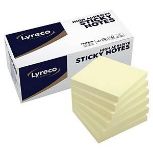 Blocs mémo Lyreco, recollables, jaunes, 75 x 75 mm, les 12