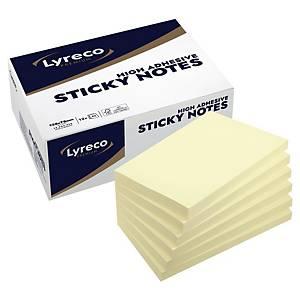 Extra priľnavé samolepiace bločky Lyreco Premium, 75 x 125 mm, žltá