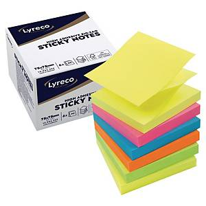 Sticky Notes Lyreco Premium ZigZag Summer, 75 x 75 mm, pakke a 6 stk.