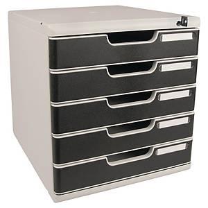 Zásuvkový modul Exacompta Modulo A4+, 5 zásuviek so zamykaním, sivo-čierny