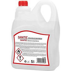 Alkoholová  tekutá dezinfekce Sanitiz na povrchy a ruce, 5 litrov