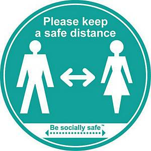 Turquoise Sticker Sign - Please Keep A Safe Distance Label Pack of 25