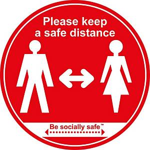 Red Floor Graphic -  Please Keep Safe Distance Apart