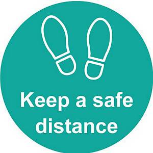 Turquoise Floor Graphic - Keep A Safe Distance