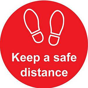 Red Floor Graphic - Keep A Safe Distance