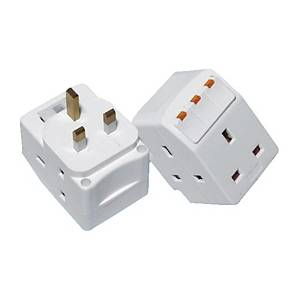 SUM 3 WAY 3 PIN ADAPTOR WITH SURGE PROTECTOR WHITE- SIRIM CERTIFICATE