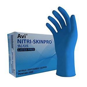 PARAGON SKINPRO NITRILE DISPOSABLE GLOVES POWDERFREE SIZE L BLUE PACK OF 100