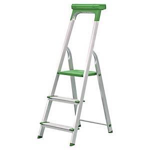 Escalera de aluminio con 3 peldaños antideslizantes color aluminio