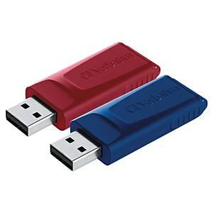 Clé USB Verbatim Slider, 2.0 USB, 32 GB, rouge/bleu, paquet de 2 pièces