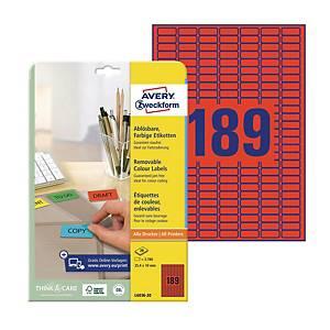 Usuwalne etykiety kolorowe Avery Zweckform 25,4x10mm, czerwone, 3780 etykiet